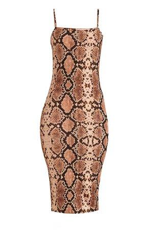 Beige Snake Dress | Dresses | PrettyLittleThing USA