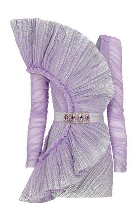 Llilac Draped Mini Dress With Belt by Raisa Vanessa | Moda Operandi