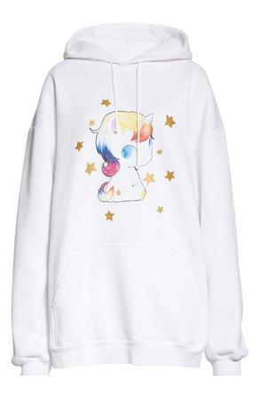 Vetements Heartbreaker Unicorn Graphic Cotton Blend Hoodie
