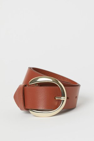 Leather Waist Belt - Beige