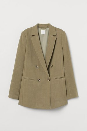 Double-breasted Jacket - Khaki green - Ladies | H&M US