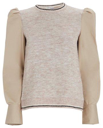 Derek Lam 10 Crosby Milton Mixed Media Sweater | INTERMIX®