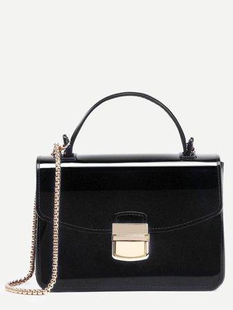 Black Pushlock Closure Box Handbag With Chain