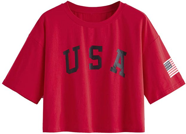 SweatyRocks Women's Letter Print Crop Tops Summer Short Sleeve T-Shirt at Amazon Women's Clothing store