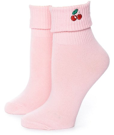 Yeah Bunny Cherries Light Pink Ankle Socks | Zumiez