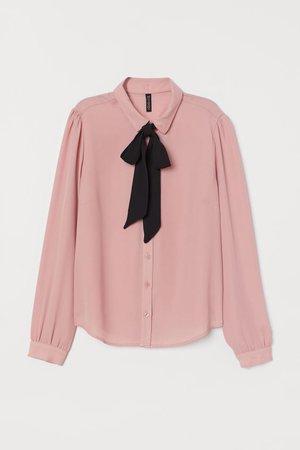 Camisa com laçada na gola - Rosa - SENHORA | H&M PT