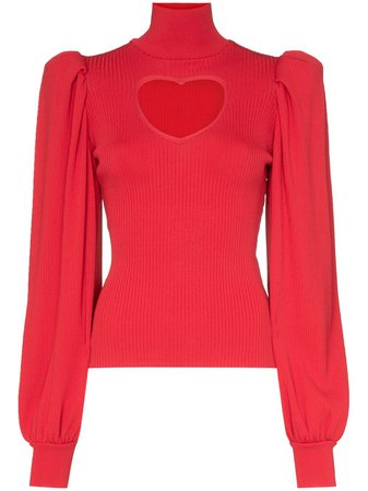 Msgm Heart Cutout Knitted Jumper