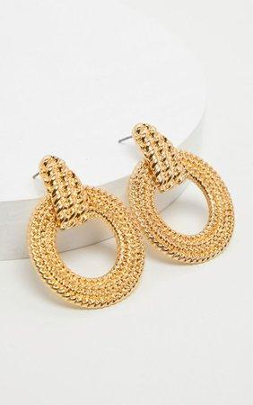 Gold Rope Effect Round Door Knocker Earrings | PrettyLittleThing USA