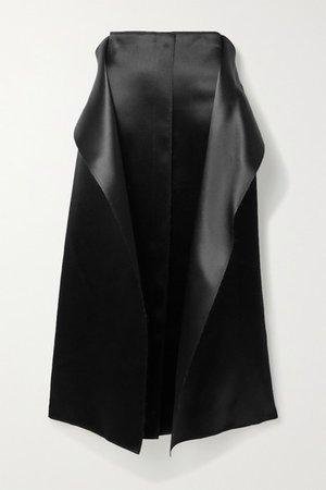 Okif Layered Hammered-satin Midi Skirt - Black