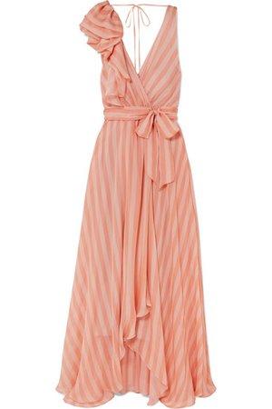 Temperley London | Linden bow-embellished striped silk-chiffon maxi dress | NET-A-PORTER.COM