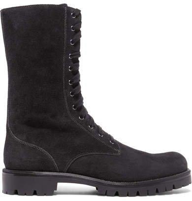 Crystal-embellished Suede Boots - Black