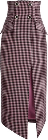 David Koma Houndstooth-Tweed Pencil Skirt