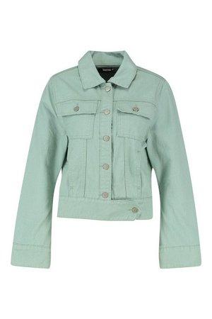 Denim Trucker Jacket   Boohoo green