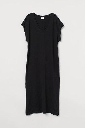 Jersey Kaftan Dress - Black