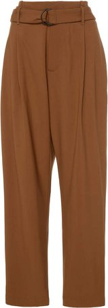 Cropped Belted Stretch-Wool Pants
