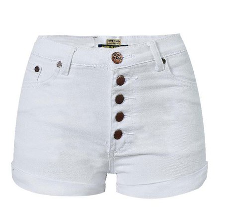Multi Buttons Details Women White Denim Shorts New Summer Hot Ladies High Waist Pencil Shorts Washed Denim Cuffs Short Pants -in Jeans from Women's Clothing on Aliexpress.com | Alibaba Group