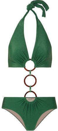 Cult Gaia Ring-embellished Cutout Halterneck Swimsuit - Green