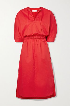 Red Stretch-cotton poplin midi dress | Jason Wu | NET-A-PORTER