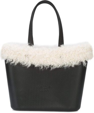 faux fur trimmed tote