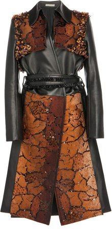 Belted Sequin-Embellished Jacquard And Leather Tench Coat