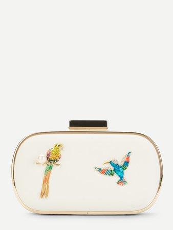 Bird Pattern Clutch Chain Bag