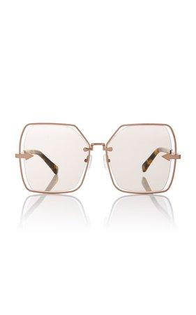 Karen Walker Nirvana Butterfly-Frame Gold-Tone Sunglasses