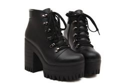 Chunky Platform Lace Up Punk Ankle Boots