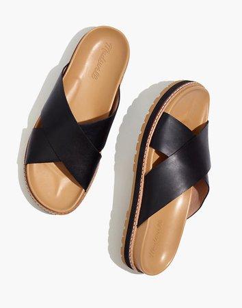 The Dayna Lugsole Slide Sandal in Leather black