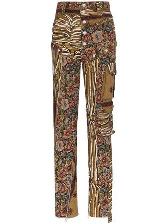 Green Mugler Tapestry Cargo Trousers | Farfetch.com