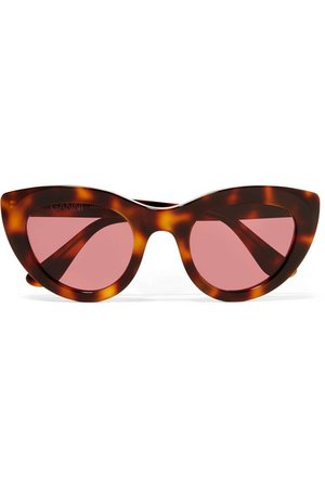 GANNI | Tortoiseshell cat-eye acetate sunglasses | NET-A-PORTER.COM