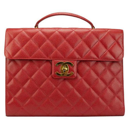 Chanel Red Leather Gold Carryall Business Top Handle Travel Brief Briefcase Bag at 1stdibs