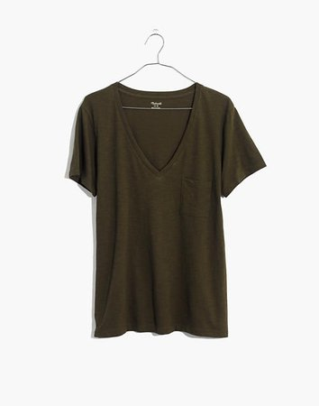 Women's Whisper Cotton V-Neck Pocket Tee | Madewell green