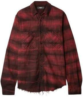 Frayed Checked Cotton-flannel Shirt