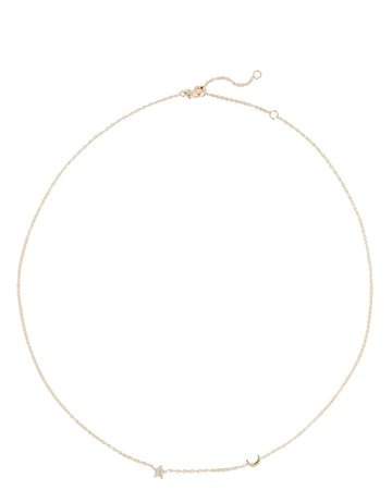 EF Collection Baby Diamond Star And Moon Necklace | INTERMIX®