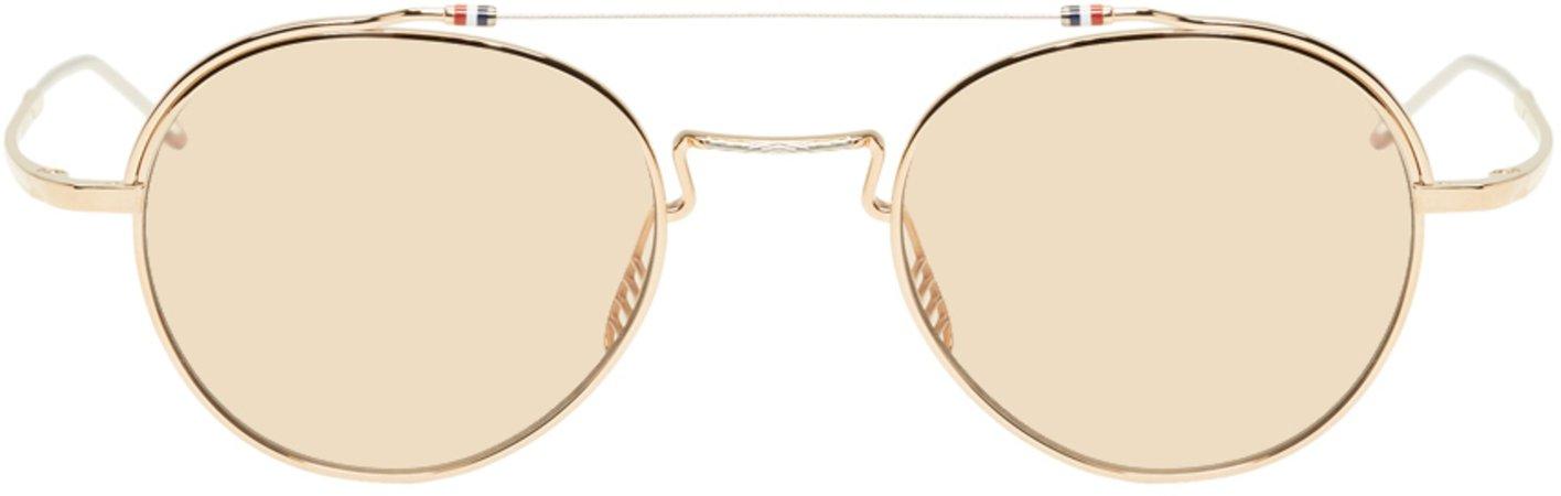 Thom Browne: Gold & Silver TB912 Sunglasses | SSENSE