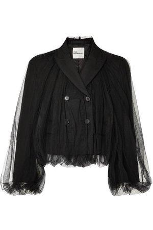 Noir Kei Ninomiya | Cropped wool and tulle blazer | NET-A-PORTER.COM