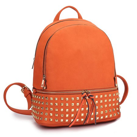 Shop Dasein Women Buffalo Leather Backpack with Studs - On Sale - Overstock - 10791982 - Orange