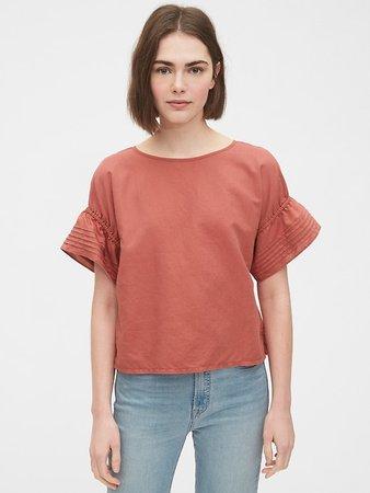 Linen-Cotton Pintuck Sleeve Top   Gap