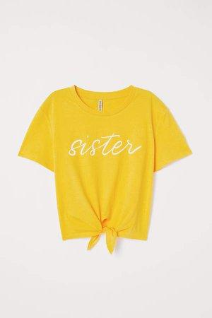 Tie-hem T-shirt - Yellow