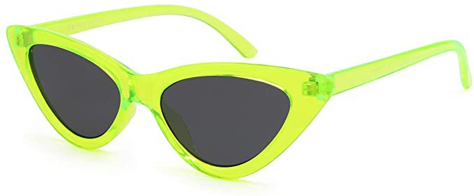 Amazon.com: Livhò Retro Vintage Narrow Cat Eye Sunglasses for Women Clout Goggles Plastic Frame (Green) : Clothing, Shoes & Jewelry