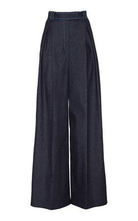 Pleated Stretch-Denim Wide-Leg Pants by Carolina Herrera | Moda Operandi