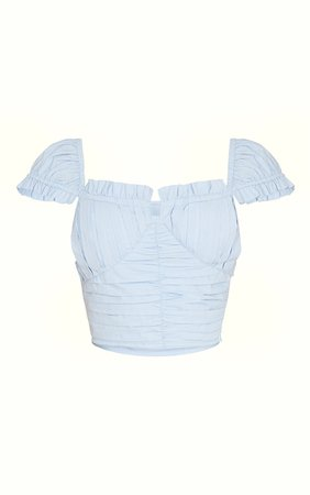 Blue Cotton Ruched Padded Cup Crop Top   PrettyLittleThing USA