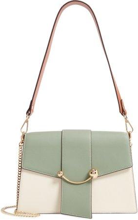 Crescent Tricolor Leather Shoulder Bag