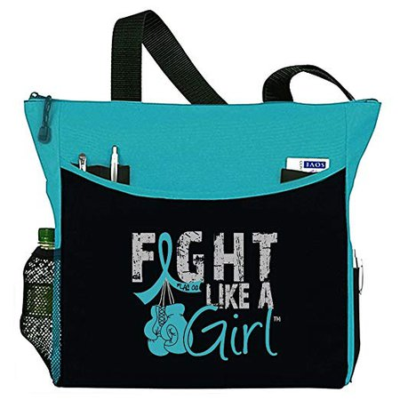 "Amazon.com: Fight Like a Girl Boxing Glove Tote Bag""Dakota"" in Teal for Ovarian Cancer Cervical PCOS PKD (Assorted Colors): Fight Like a Girl"