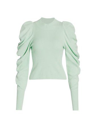 Jonathan Simkhai Drea Loungewear Knit Drape-Sleeve Sweater | SaksFifthAvenue