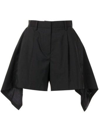 Shop black Sacai asymmetric shorts with Express Delivery - Farfetch