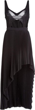 David Koma Pleated Macrame Midi Dress