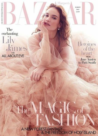 UK Harper's Bazaar Magazine March 2019: LILY JAMES COVER STORY - YourCelebrityMagazines
