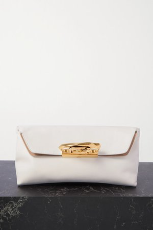 Sculptural Leather Pouch - White