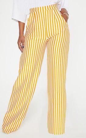 Shape Mustard Striped Wide Leg Trousers | PrettyLittleThing